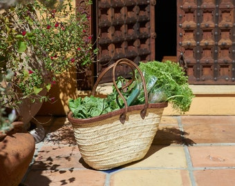 FREE SHIPPING Handmade Moroccan Market Basket, Minimalistic Classic