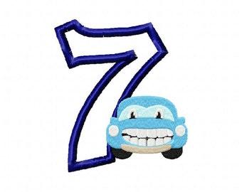 seventh birthday embroidery design, car birthday design, 7th birthday embroidery, car birthday, cars embroidery design, cars 7th birthday