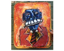 """Suit and Tie Recycled Material Found Object Art Unique Christmas Gift for Boss or Coworker OOAK """"Like A Boss"""" Abstract Portrait Outsider Art"""