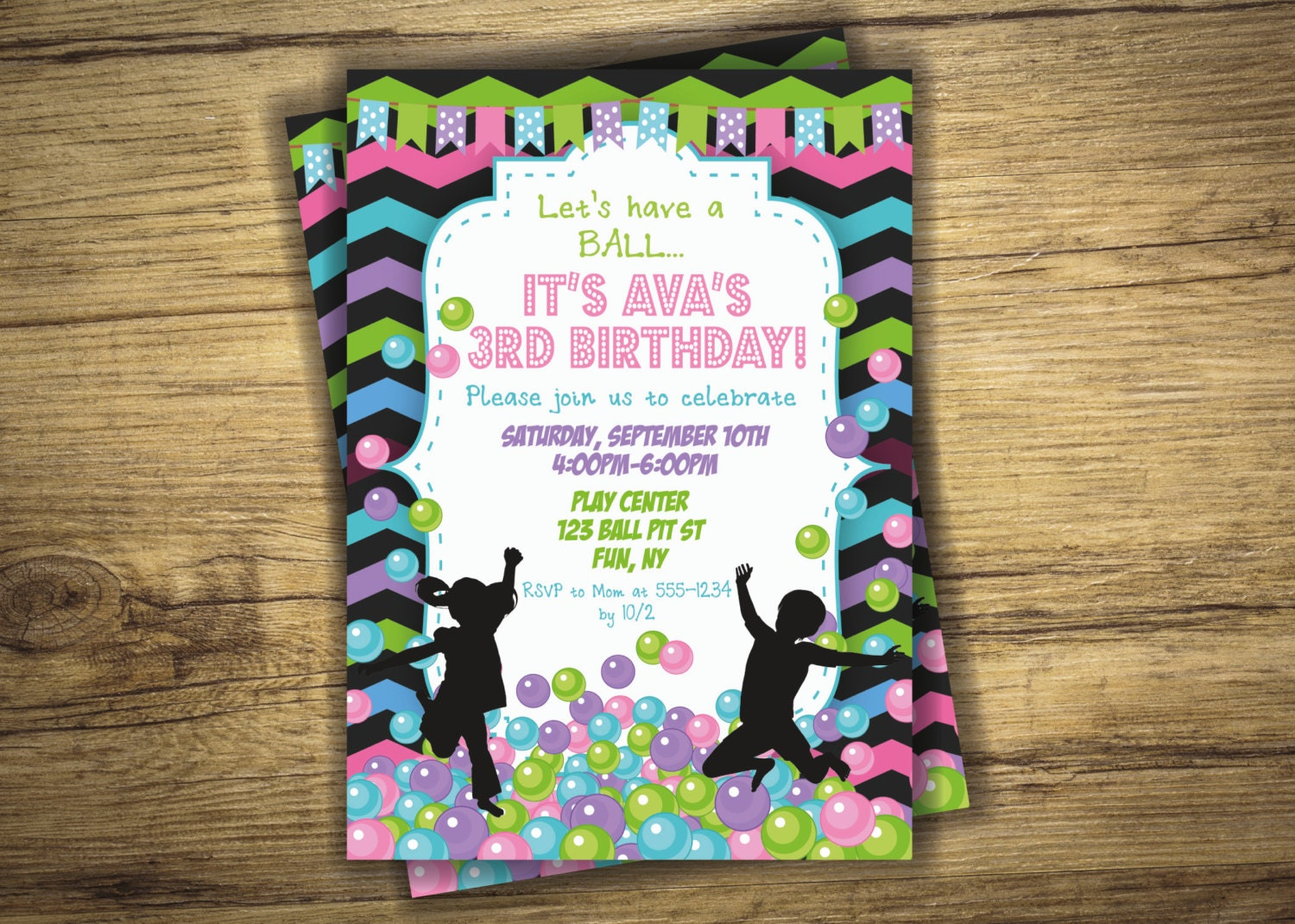 ball pit invitation ball pit birthday party invitation play zone balls bounce house girl invite first birthday 1st digital file printable