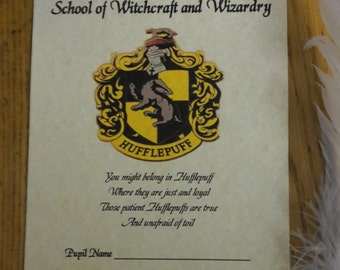 Harry Potter House HUFFLEPUFF sorting hat certificate