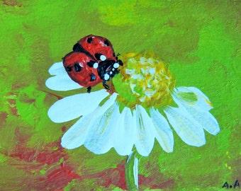aceo original acrylic painting ladybug daisy mini art ooak