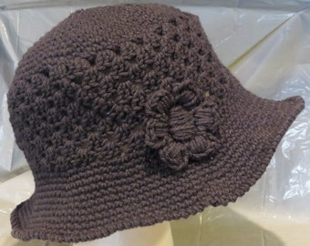 Brimmed Hat w/flower Hand Crochet