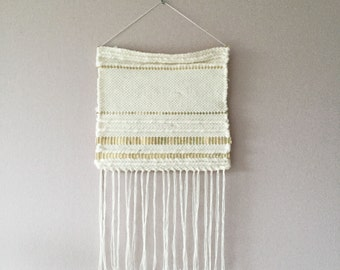 Woven wallhanging, golden simplicity