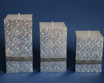 Vanilla fragrance & silver foil square pillar candle hand-crafted in 3 different sizes