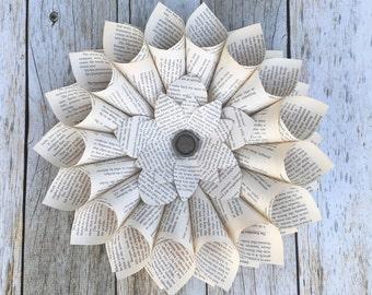 Book Wreath - Farmhouse Decor - Library Decor - Book Page Wreath - Library Wedding - Book Decoration - Paper Wreath - Paper Decor