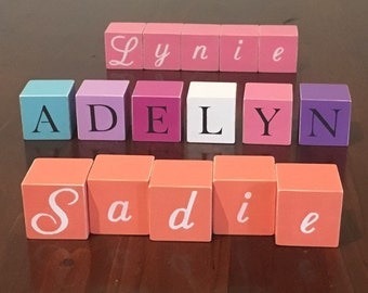 Personalised wooden name blocks, hand painted letter/word blocks, customised, nursery decor, baby gift