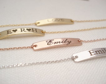 Personalized Bracelet...Engraved Bar, Gold, Rose gold, Silver, sorority, best friend gift, wedding, bridesmaid gift