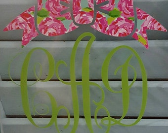 Cursive monogram decal with Lily inspired bow