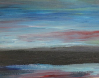 Sunset Serene - original modern acrylic painting, affordable art, impressionist, abstract,