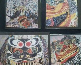 Post cards 4set/ shishimai/from Japan.