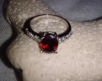 Romantic Red CZ and White Topaz Sterling Silver Ring
