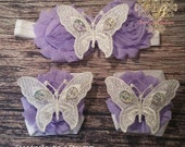 Purple Shabby and Lace Butterfly Baby Girl Headband and Barefoot Sandal Set! / Baby Headband / Baby Barefoot Sandals / Headband Set / Baby