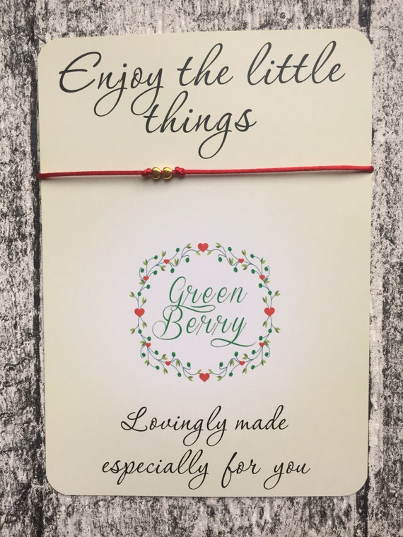 """Two tiny gold tone heart charms String Bracelet on """"Enjoy the little things"""" quote card madebygreenberry wish bracelet"""
