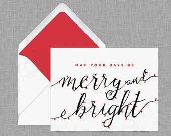 Merry and Bright Christmas Card // Holiday Lights // Calligraphy