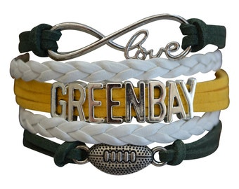 Green Bay Packers Bracelet - Packers Bracelet - Adjustable Packers Charm Bracelet- Green Bay Packers Bling- Perfect Football Fan Gift!!!