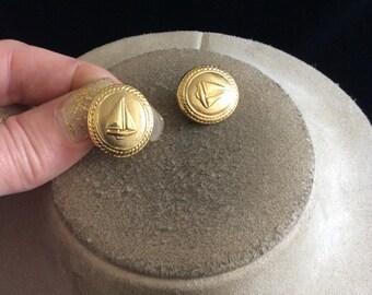 Vintage Goldtone Sail Boat Clip On Earrings