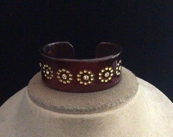 Vintage Yellow Rhinestone Brown Cuff Bracelet