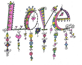 6 LOVE doodle Blank Note Card Greeting Cards   w/envelopes