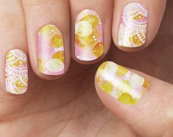 Citrus Watercolour Nail Polish Wraps
