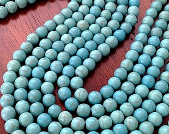 Bulk 90 pcs, 8mm Turquoise Beads, Howlite Beads, Turquoise Beads, Blue Turquoise Beads, Spacer Beads, Craft and Jewelry Supplies, Finding