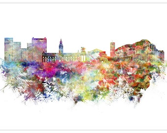 XAR236 Poster Print Digital Paint Watercolour Skyline CAPE TOWN South AFRICA