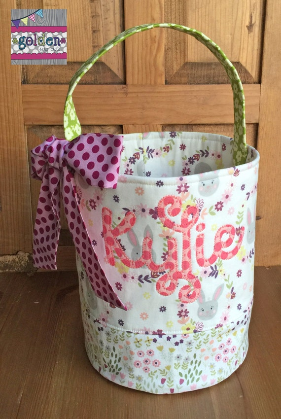 Personalized Easter Basket, Fabric Bag, Easter Egg Bucket, Tote *No Bow* - YOU PICK FABRIC!