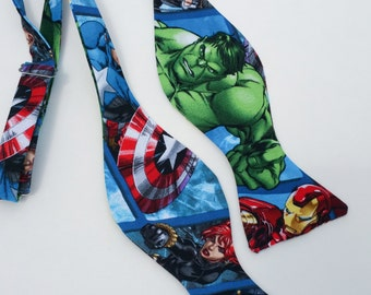 Men's Avengers Comic Book Adjustable Self Tie Bow Tie Hulk Captain America Black Widow Iron Man