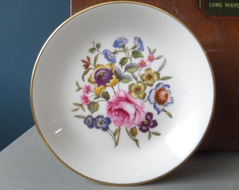 "Pin Dish or Butter Dish 4"", Royal Worcester, 'Bournemouth' Pattern, English Fine Bone China, Floral Transferware, Immaculate"
