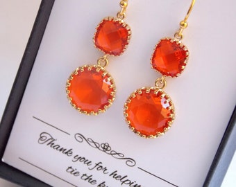 Orange Earrings, Gold Tangerine, Carnelian, Dangle Bright Orange, Wedding Jewelry, Bridesmaid Earrings, Bridesmaid Jewelry, Bridesmaid Gifts