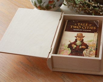 "8-3/4"" Small Wooden Book Box,Children's Book Box,Gift Book Box,Bible Box,Wood Bible Box,Wooden Bible Box,Wooden Keepsake Box"