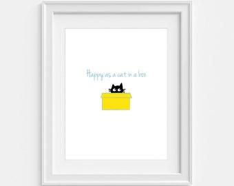 Happy as a cat in a box - cute black cat in a box print, cat print, cat wall art, cat poster, cat decor, black cat poster for cat lovers