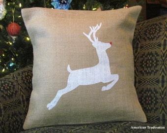 Burlap Pillow-  Rudolph Pillow, Reindeer Pillow, Christmas Pillow, Holiday Decor, Christmas Decor