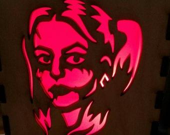 Harley Quinn / Wooden Box / Tealight Box / Wooden Tea Light Holder / Gift for Her / Halloween Decoration / Stocking Stuffer / Light Box