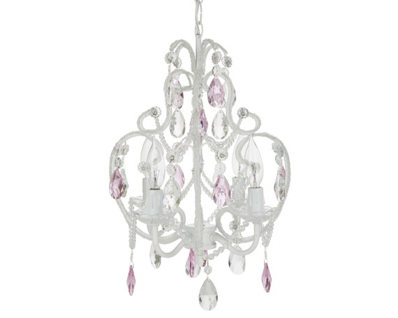 White chandelier with pink crystals 4 by platinumhomedesigns for Bedroom kandi swag bag