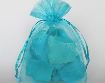 Organza Gift Bags, Teal Sheer Favor Bags with Drawstring for Packaging, pack of 50