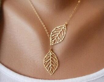 Gold Leaf Necklace, Boho Necklace, Bohemian Necklace, GoldNecklace