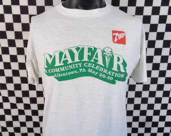 Vintage Mayfair Tshirt / 80s Mayfair Festival Tshirt / 7up Shirt / Thin 80s Shirt / 7-up Shirt / Allentown PA / Thin 2-sided Tshirt / Vtg