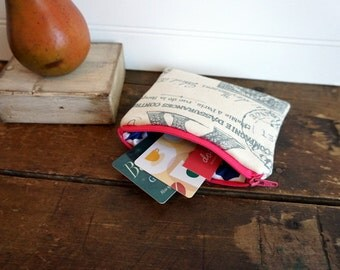 Zipper Bag - Paris Bag with Pink and Navy, Small Coin Purse, Credit Card or Gift Card Holder
