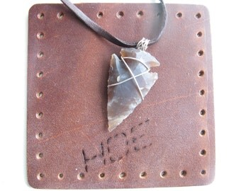 Arrowhead No. 2  ---  Brown arrowhead necklace wrapped in silver-plated wire, leather cord, point pendant, tribal style necklace, minimalist