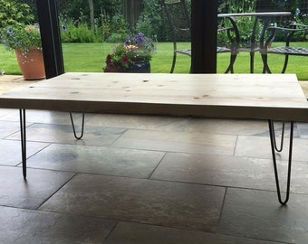 On trend Bespoke wooden coffee table furniture with hair pin legs