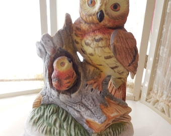 Vintage Ceramic Owl and Owlet on a Branch, Vintage Owl, Owl Figurine