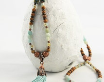 Long tassel chain in the Malastil with Amazonite beads, Woodlace beads, and sandalwood