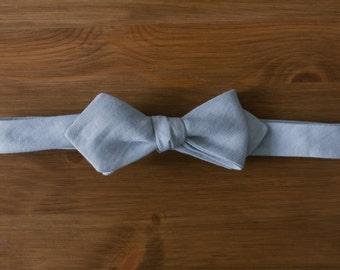 men's bow tie - light blue cotton diamond
