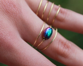 Multicolored Spiral Wrapped Wire Ring