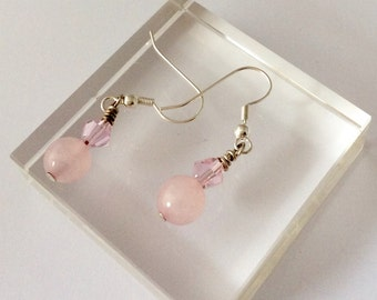 Pale pink earrings with bicone beads and pale pink round beads