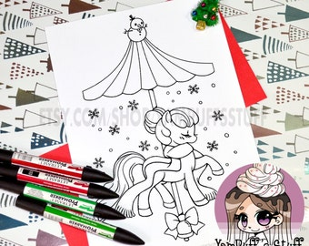 Holiday Snow Carousel Pony  - Clip Art - Digital Stamp