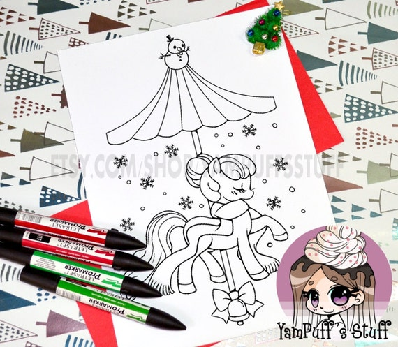 Holiday Snow Carousel Pony  - Clip Art - Digital Stamp