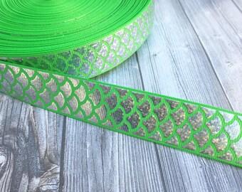 """Mermaid scale ribbon - Be a mermaid - Mermaid ribbon - Green mermaid - Fish ribbon - Ocean ribbon - Sea life ribbon - 1"""" Grosgran ribbon -"""