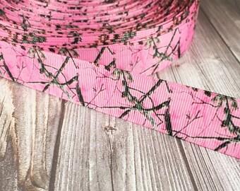 Pink camo ribbon - Realtree pink - Hunting girl ribbon - Daddy wears camo - Pink camo crafts - Camo wedding - Headband DIY - Hair bow DIY